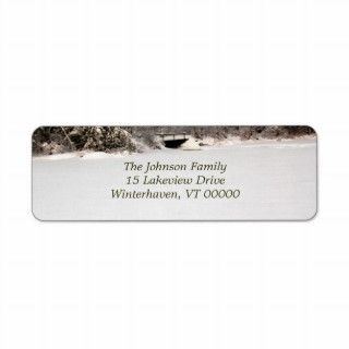 Winter Pond Address Labels, Red Text