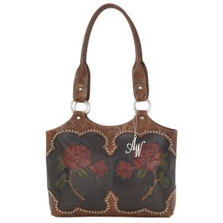 American West Leather Hand Tooled Roses Are Red Tote Handbag Purse New