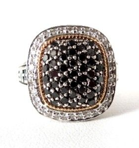 Effy BALISSIMA 18K YG Sterling Black & White Diamond Ring Sz 7  GAL