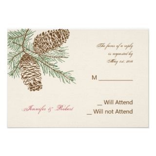 Pine Cone Nature on Cream Wedding Response Card Personalized