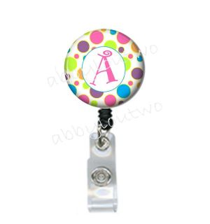 Retractable ID Badge Holder Personalized w Your Initial