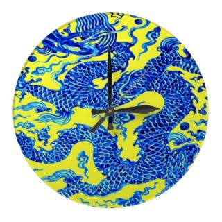 Blue Dragon Chinese Vase Modern Acryllic Designer Wall Clocks