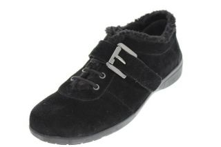 Easy Spirit NEW Idris Black Suede Faux Fur Buckle Embellished Casual