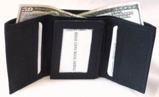 RFID Identity Theft Protection Black Leather Trifold Mens Wallet