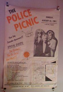 The Police Picnic Iggy Pop RARE 1981 Poster Sting T O