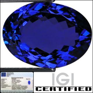 IGI Certified 3 14 ct AAA Natural DBlock Tanzanite Oval Cut Deep Blue