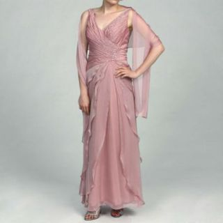 Ignite Beaded Pleated Chiffon Gown Wrap Rose 18