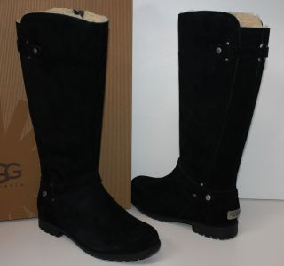 UGG Jillian II Black Suede Shearling Lined Riding Boots New in Box