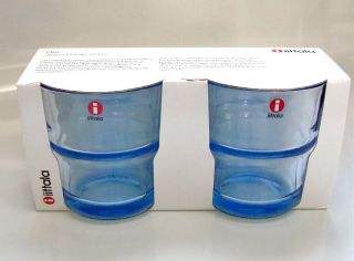 Iittala OTE Grip Drinking Glasses Finland Light Blue