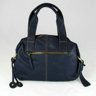 Ili 9493 Womens Navy Blue Leather Satchel Handbag Purse