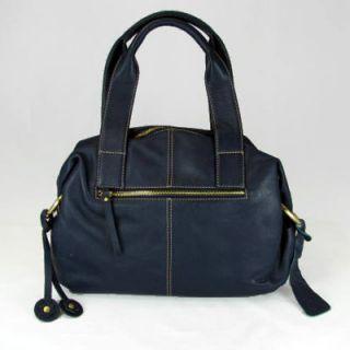 Ili 9493 Womens Navy Blue Leather Satchel Handbag Purse