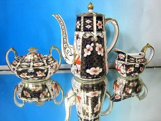 CROWN DERBY FOR TIFFANY 2451 IMARI GOLD COFFEE SET POT CREAM SUGAR