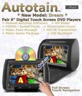 DREAM 9 inch DIGITAL TOUCH SCREEN Car Headrest DVD Player Monitor