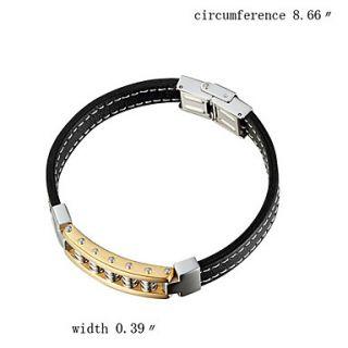 EUR € 17.10   Titanio e bracciale in acciaio in gomma nera con Gold