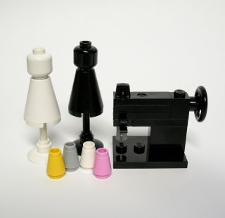 Custom Lego Sewing Set Machine Dress Form Thread RARE Mini Miniature