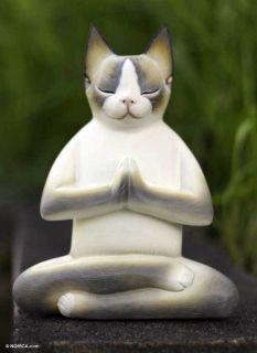 Cat in Meditation Signed Hand Carved Sculpture Bali Art