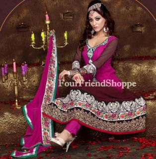 Indian Bollywood Ethnic Designer Wine Anarkali with Full Length