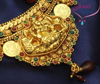 Gold Plated Antique Necklace Ear Rings Temple Jewellery New Designs