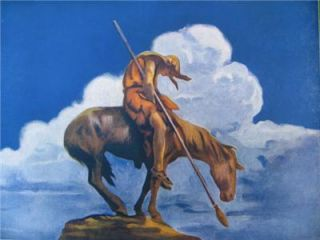 Trails End American Indian Resting on Horse Old Litho