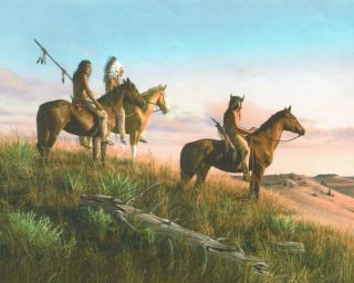 Indian Braves on Horses View Tee Pee Wallpaper Border Wall