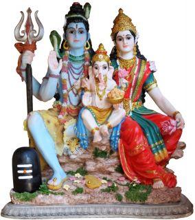 Siva Parvati Ganesh Shiva India Hindu God Large Statue Murti K103
