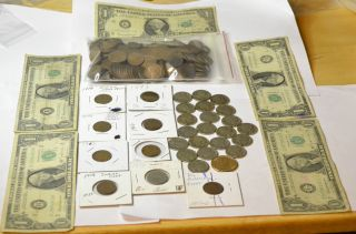 Junk Drawer Currency Over 250 Wheats Indian Heads Dollars More