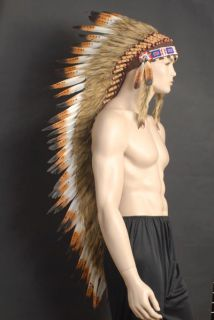 NATIVE INDIAN CHIEF FEATHER HEADDRESS 125CM LONG BROWN TIP FEATHERS