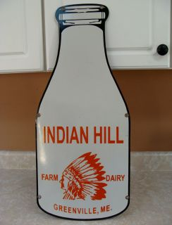 30s 40s PORCELAIN SIGN INDIAN HILL FARM DAIRY MILK BOTTLE 100 ORIGINAL