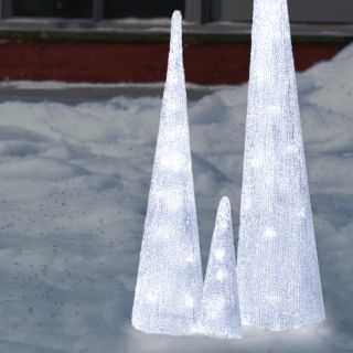 LED White Ice Cone Holiday Christmas Tree Indoor/Outdoor Decoration
