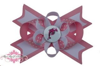 Miami Dolphins Pink Hair Bow on A Headband Baby NFL