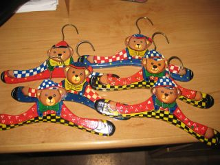 Vintage Wooden Baby Clothes Hangers Set of 6 Hand Painted Teddy Bear