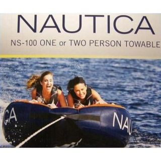 NS 100 1 2 PERSON INFLATABLE TOWABLE BOAT WATER TUBE LAKE RAFT FLOAT
