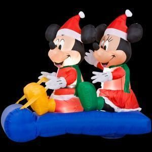 Disney Mickey Minnie Sled Riding Lighted Yard Inflatable New