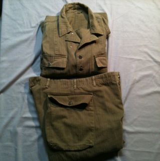 US Army WW2 Jacket and Trousers, Herringbone Twill, Utility Uniform