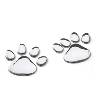 USD $ 6.49   Silver Metal Dog Paw Print Bicycle Paster Tag,