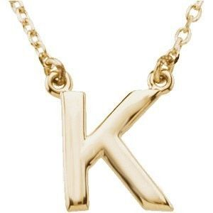 14kt Yellow Gold Block Initial Letter K Pendant Necklace 16