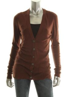 Inhabit NEW Brown Seamed Long Sleeve V Neck Button Down Top Sweater M