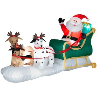 Santa Claus Sleigh with Dogs Christmas Inflatable New