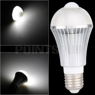 E27 Infrared Motion Sensor 6 LED White Light Bulb Lamp 6W