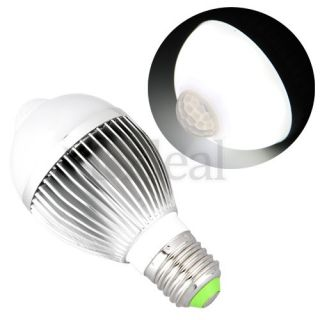 E27 IR Infrared Motion Sensor White LED Light Bulb Lamp 6 5W