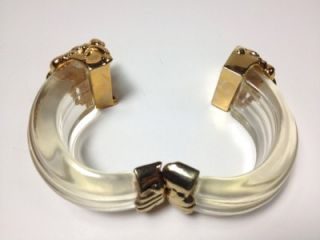 French 1980s Gold Swirls Inna Citrine Lucite Large Bracelet