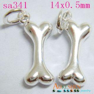 Bone Sterling Silver Charm Dangle Fit Bracelets Pendant SA341