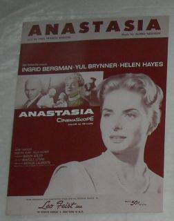 1956 Anastasia Film Sheet Music Ingrid Bergman H Hayes