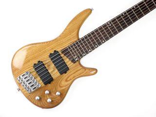 Stellah Srb 6 6 String Electric Bass Guitar Natural Walnut Top Six B