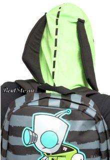 Invader Zim Gir Hooded Striped Doom Backpack Hoodie Ears Robot