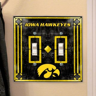 Iowa Hawkeyes Light Switch Cover Double Glass