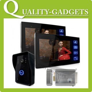 Video Door Phone Doorbell Kit Intercoms 3 Monitors 2 IR Cameras