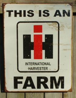International Harvester Tin Sign Garage Man Cave Tractor Farm Country