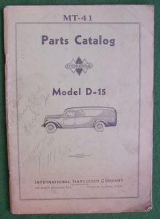 Vintage 1937 38 International Trucks Parts Catalog Model D 15 MT 41