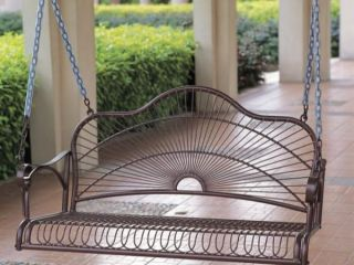 Sun Ray Iron Patio or Porch Swing in Bronze